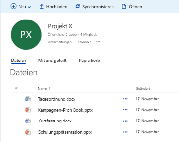 "OneDrive for Business-Ansicht ""Unsere Dateien"""