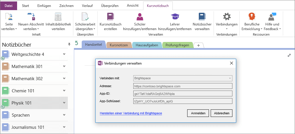 """Screenshot des Dialogfelds """"Verbindungen"""" im Add-In OneNote-Kursnotizbuch mit aktivierter Gruppenrichtlinie"""