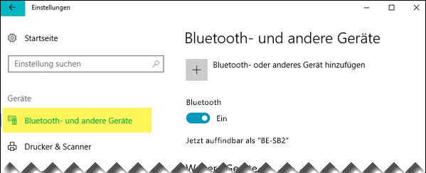 """Stellen Sie sicher, dass auf der linken Seite """"Bluetooth- und andere Geräte"""" ausgewählt ist."""
