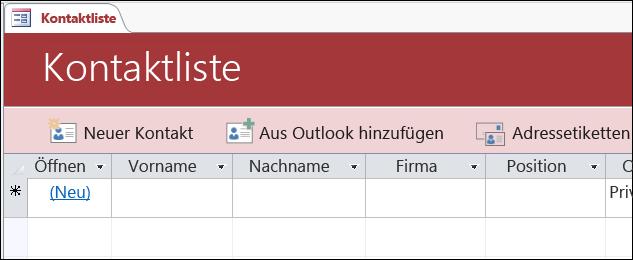 "Formular ""Kontaktliste"" in der Access-Datenbankvorlage ""Kontakte"""