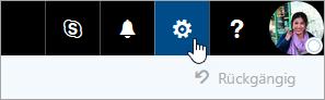 """Screenshot der Schaltfläche """"Einstellungen"""" auf der Navigationsleiste."""