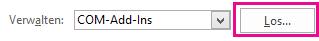 """Klicken Sie auf """"Gehe zu"""", um das Dialogfeld """"Add-Ins"""" zu öffnen."""