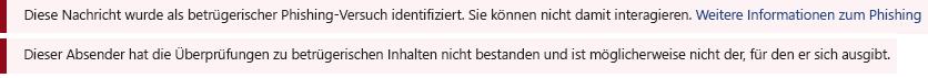 Ein Screenshot des Balkens rote Sicherheit in einer Outlook-Nachricht.