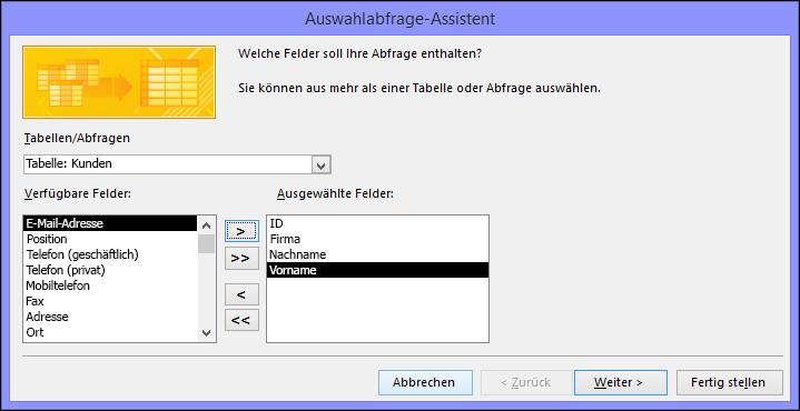 """Wählen Sie im Dialogfeld """"Auswahlabfrage-Assistent"""" die Felder aus, die Sie verwenden möchten."""