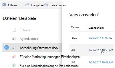 Screenshot des Versionsverlaufs für eine OneDrive for Business-Datei im Detailbereich angezeigte