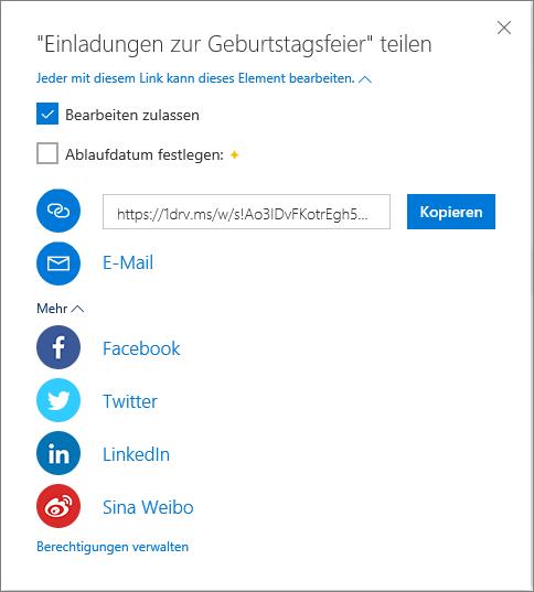 """OneDrive-Optionen für """"Alle freigeben"""""""