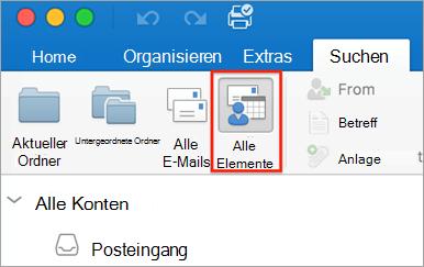 Zeigt die Schaltfläche alle Elemente auf der Registerkarte Suchen