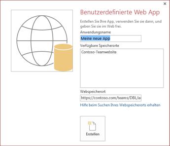 Das neue Dialogfeld für benutzerdefinierte Web Apps, mit der Contoso-Teamwebsite im Feld 'Verfügbare Speicherorte'