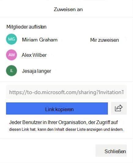 """Screenshot mit dem Menü """"zuweisen an"""" und der Option zum Zuweisen zu den Listenmitgliedern: Miriam Graham, Alex Wilber und Jesaja langer sowie die Option zum Kopieren und Freigeben des Listen Links."""
