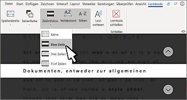 """Dropdownliste """"Zeilenfokus""""im Menüband; Option """"Eine Zeile"""" ausgewählt"""