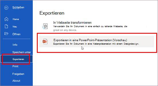 Exportieren in eine Präsentation