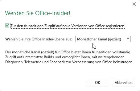 """Dialogfeld """"An Office-Insider teilnehmen"""" mit der Option """"Ebene 'Monatlicher Kanal (gezielt)'"""""""