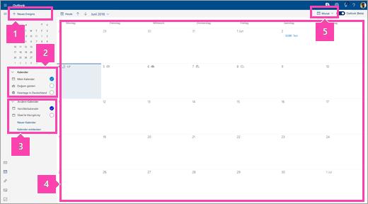 Screenshot der Kalender-Oberfläche