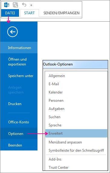Datei > Optionen > Erweitert