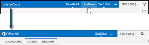'OneDrive' auf SharePoint auswählen, um zu OneDrive for Business in Office 365 zu wechseln