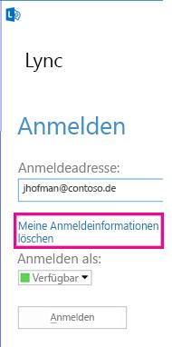 Lync-Anmeldefenster mit hervorgehobener Schaltfläche zum Löschen von Anmeldeinformationen