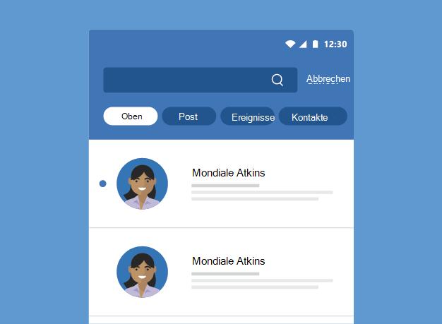 Zeigt Outlook-Suchergebnisse an