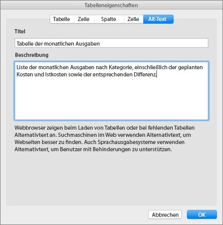 """Screenshot der Registerkarte """"Alternativtext"""" im Dialogfeld """"Tabelleneigenschaften"""" mit Beschreibung der ausgewählten Tabelle"""