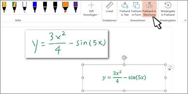 Von Hand geschriebene Formel und dieselbe Formel konvertiert in formatierten Text und Zahlen