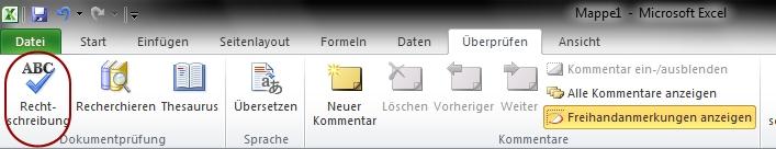 Excel-Menüband, Registerkarte 'Überprüfen', Befehl 'Rechtschreibung'