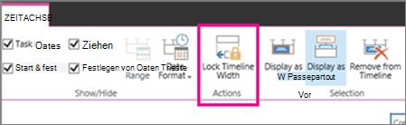 Aufgabe Zeitachse Sperren Breite Option auf der Registerkarte Zeitachse