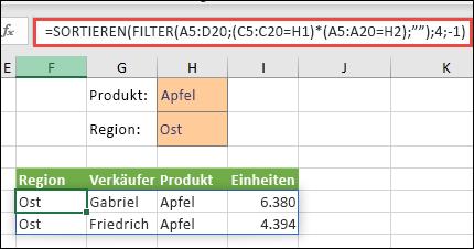 """Verwendung von FILTER mit der SORTIEREN-Funktion: Gibt alle Werte im Arraybereich (A5:D20) zurück, die """"Apfel"""" UND """"Ost"""" lauten, und sortiert anschließend """"Einheiten"""" in absteigender Reihenfolge."""