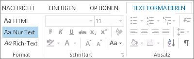 Optionen für das Nachrichtenformat auf der Registerkarte 'Text formatieren'