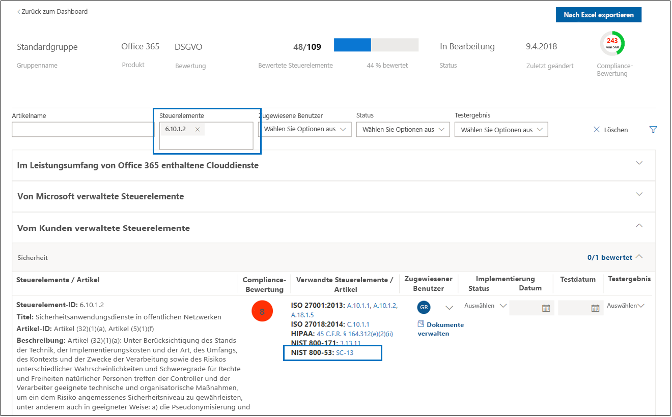 Compliance-Manager-Bewertung – freigegebene Steuerelemente
