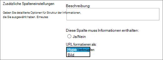 Optionen für Bild/Hyperlink-Spalte