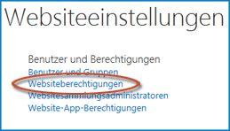 Screenshot einer Optionengruppe auf der Seite 'Websiteeinstellungen', die den Link 'Personen und Gruppen' anzeigt.