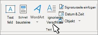 """Die Option """"Initiale"""" befindet sich auf der Registerkarte """"Einfügen""""."""
