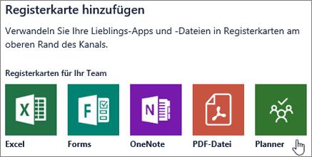 "Screenshot des Dialogfelds ""Registerkarte hinzufügen"" in Teams"