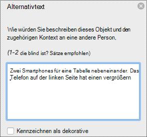 """Bereich """"Alternativ Text"""" in Excel für Mac"""