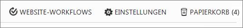 """Ansicht der Schaltfläche """"Papierkorb"""" in """"Websiteinhalt""""."""