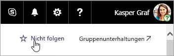 Ein Screenshot der Schaltfläche für Folgen auf einer SharePoint-Website