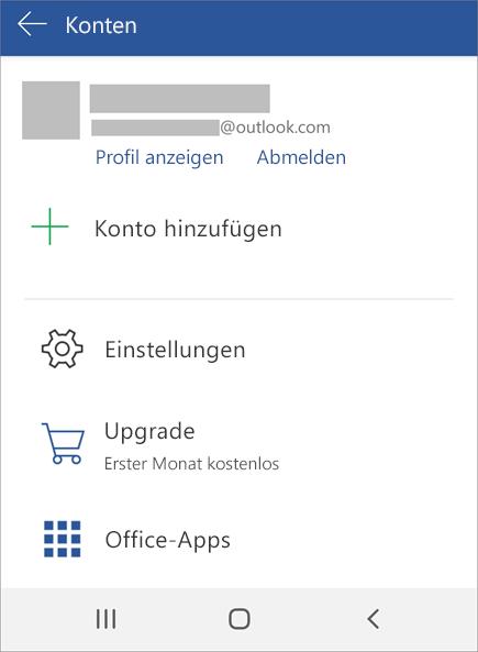 Zeigt die Option zum Abmelden von Office auf einem Android-Gerät an.
