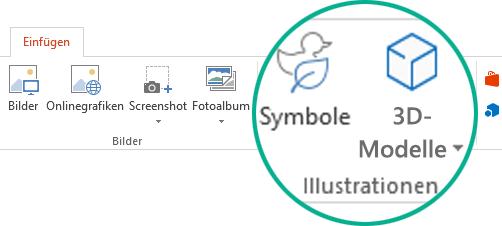 """Die Schaltflächen für Symbole und 3D-Modelle auf der Registerkarte """"Einfügen"""" im Menüband mit der Symbolleiste in Office 365"""
