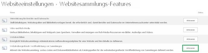 Aktivieren des Features für die websiteübergreifende Veröffentlichung von Sammlungen