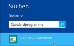 Screenshot der Standardprogramme