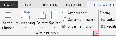 """Auf der Registerkarte """"Seitenlayout"""" dient das Seiteneinrichtungssymbol in der rechten unteren Ecke zum Öffnen des Fensters """"Seite einrichten""""."""