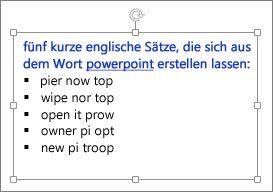 Formatierung in einem PowerPoint-Textfeld