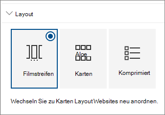 Websites Web Webpart Layout-Einstellungen