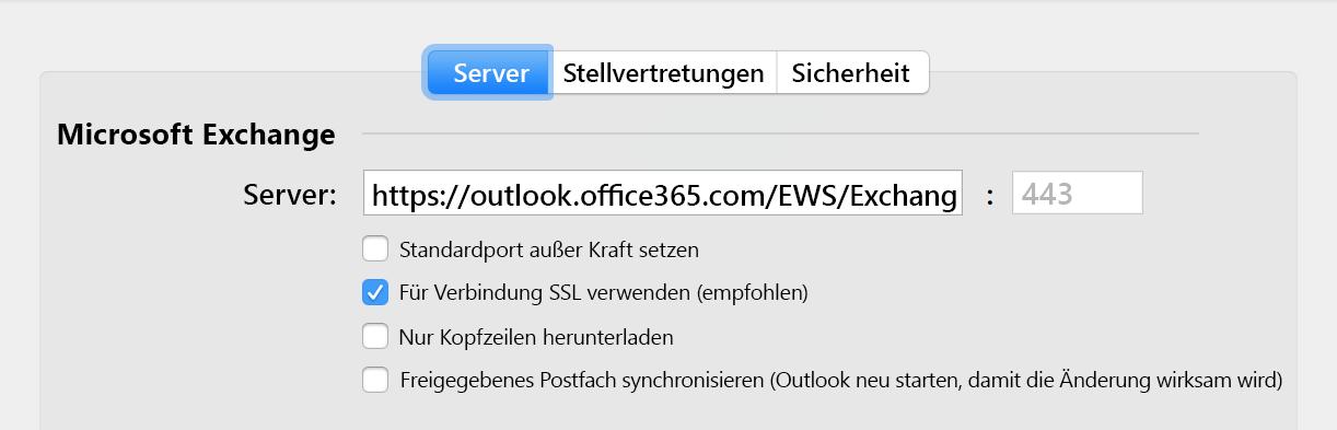 Automatische Synchronisierungsoption für ein freigegebenes Postfach
