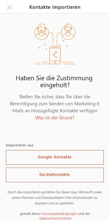 Tippen auf Google-Kontakte