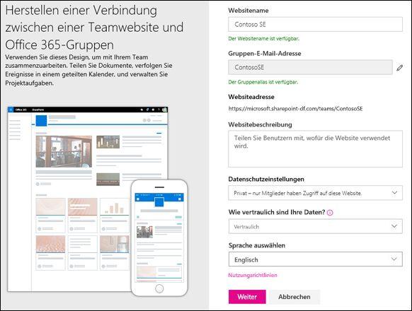 Erstellen einer SharePoint-Teamwebsite