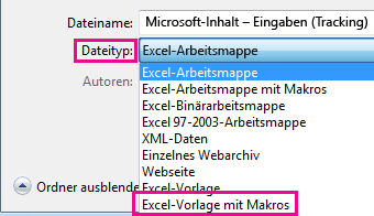 Wählen Sie die Excel-Vorlage mit aktivierten Makros aus.
