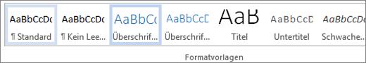 Hervorgehobene Formatvorlage im Formatvorlagenkatalog