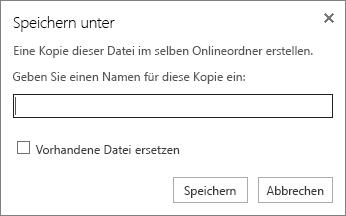 """Screenshot des Dialogfelds """"Speichern unter"""", in dem Sie einen Namen für die Datei eingeben und die vorhandene Datei ersetzen können."""