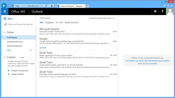 Nachdem Sie E-Mail aus der PST-Datei importiert haben, wird sie auch in OWA angezeigt.