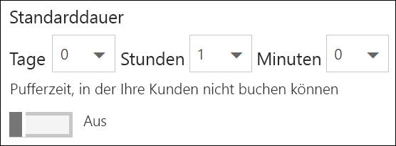 Screenshot: Festlegen der Standarddauer für den Dienst